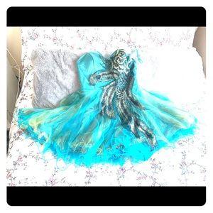 Short peacock formal dress